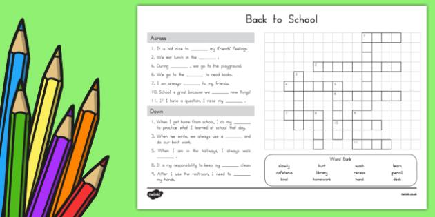 Back to School Crossword
