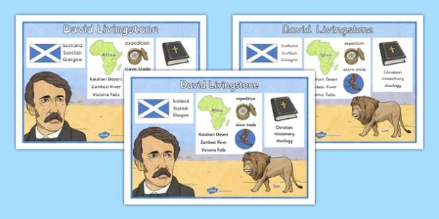 Scottish Significant Individuals David Livingstone Word Mat - Scottish significant individual, explorer, Christian missionary, Africa, Victoria Falls, Zambezi, slave trade, anti-slave