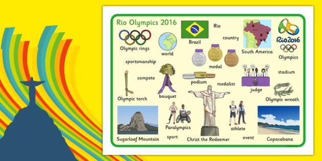 Rio Olympics 2016 Word Mat - rio olympics, olympics, rio, 2016, word mat, word, mat