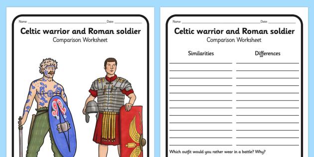 Celtic Warrior and Roman Soldier Comparison Worksheet - celtic warrior, warrior, celts, comparison worksheet, worksheet, history, themed worksheet