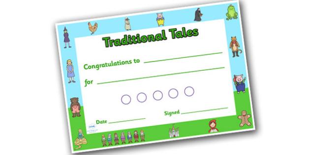 Traditional Tales Sticker Reward Certificate 15mm - reward certificate, sticker reward certificate, traditional tales reward certificate, traditional tales