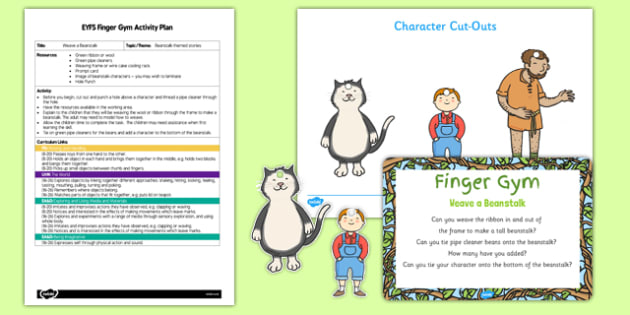 Weave a Beanstalk EYFS Finger Gym Activity Plan and Resource Pack - Jack and the Beanstalk, ribbon, pipe cleaner