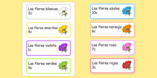Garden centre labels flowers Spanish - Display, garden centre, plants, plant, topic, flower, price, price labels, for sale