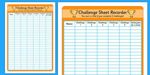 Challenge Sheet Recorder - challenge record, challenge poster, challenge sheet, challenge record sheet, challenge table poster, challenge display poster