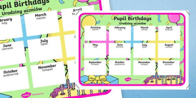 Pupil Birthday A4 Display Poster Polish Translation - polish, Teacher, Classroom Organisation, pupil birthday, display poster, record, teacher planning