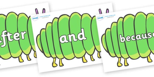 Connectives on Fat Caterpillars to Support Teaching on The Very Hungry Caterpillar - Connectives, VCOP, connective resources, connectives display words, connective displays