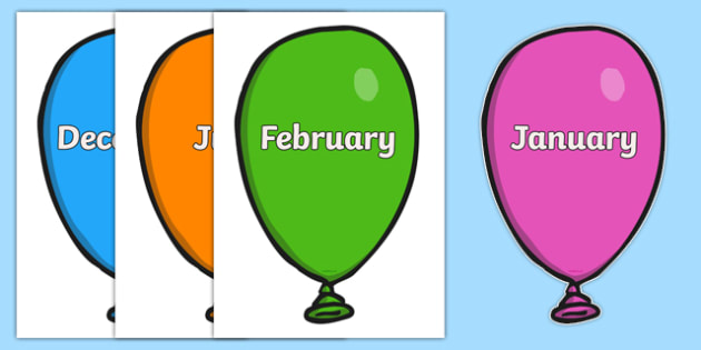 Months of the Year on Balloons - Months poster, Weeks display, display, poster, frieze, Months of the year