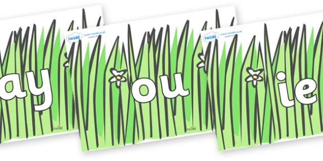 Phase 5 Phonemes on Wavy Grass - Phonemes, phoneme, Phase 5, Phase five, Foundation, Literacy, Letters and Sounds, DfES, display