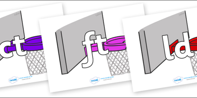 Final Letter Blends on Basketball Hoops - Final Letters, final letter, letter blend, letter blends, consonant, consonants, digraph, trigraph, literacy, alphabet, letters, foundation stage literacy