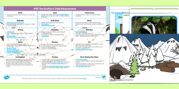 EYFS Enhancement Ideas and Resources Pack to Support Teaching on The Gruffalos Child - Early Years, continuous provision, early years planning, adult led, Julia Donaldson, Gruffalo