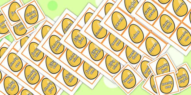 Jack and the Beanstalk Golden Egg Number Word Cards - Beanstalk