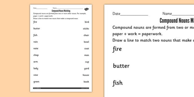 Compound Nouns Matching Worksheets - compound, noun, match, sheet
