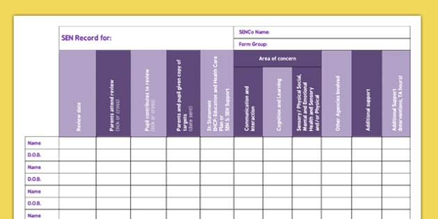 Secondary Form Group SEN Record - secondary, form, group, sen, record