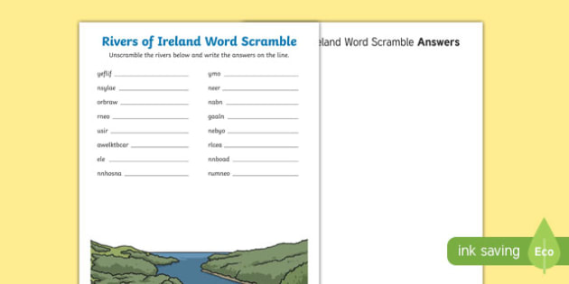 Rivers of Ireland Word Scramble Activity Sheet-Irish, worksheet