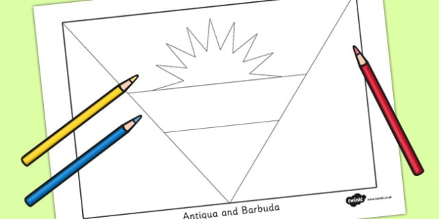 Antigua and Barbuda Flag Colouring Sheet - countries, geography