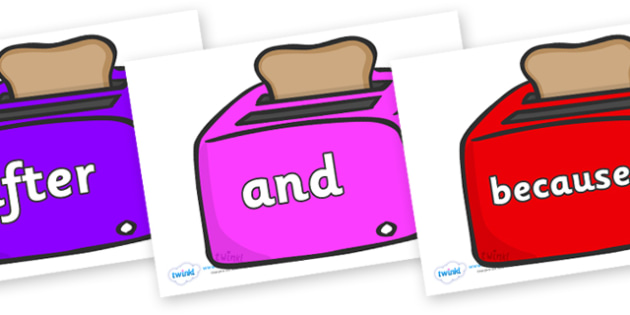 Connectives on Toasters - Connectives, VCOP, connective resources, connectives display words, connective displays