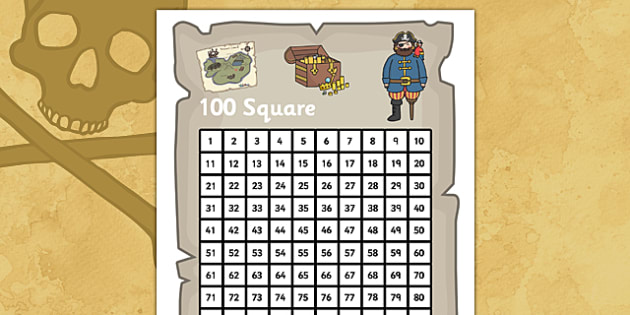 Pirate Themed 100 Number Square - pirate number square, pirate 100 square, pirate theme number square, number square, 100 square, pirates, pirate theme