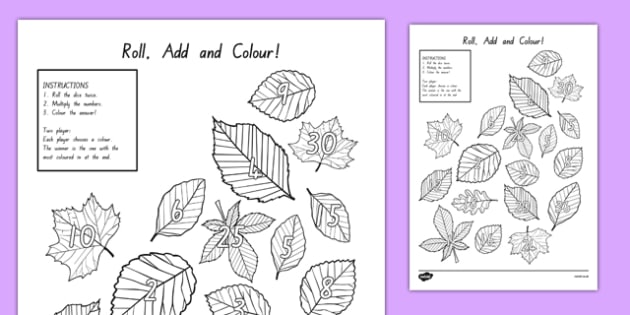 Leaf Roll and Colour Dice Multiplication Activity - nz, new zealand, leaf, roll and colour, dice, multiplication, multiplication activity, games, dice games, dice activities
