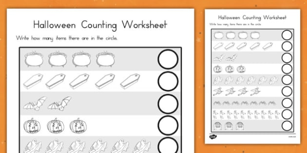 Halloween Counting Worksheet - topic, numbers, maths, early years, ks1, fun and  games,