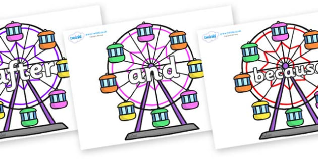 Connectives on Ferris Wheels - Connectives, VCOP, connective resources, connectives display words, connective displays