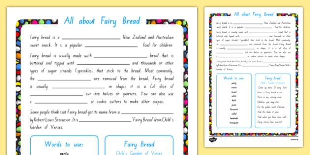 Fairy Bread Cloze Activity Sheet, worksheet