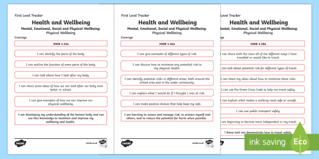 CfE Health and Wellbeing (Physical Wellbeing) First Level Child Friendly Tracking