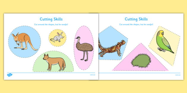 Australian Desert Habitat Cutting Skills Worksheet - Science, Year 1, Habitats, Australian Curriculum, Desert, Outback Living, Living Adventure, Environment, Living Things, Animals, Plants, Cutting Skills, Fine Motor