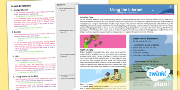 PlanIt - Computing Year 2 - Using the Internet Overview - Y2 PlanIt Computing Using the Internet, internet, safety, search, web, world wide, www, chrome, expl