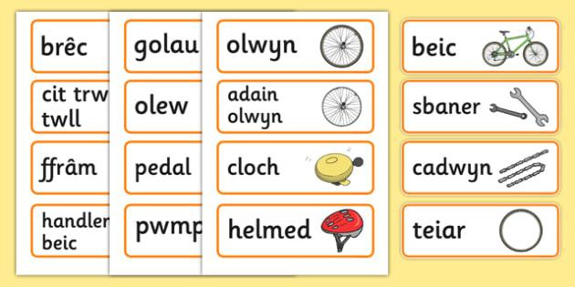 Bicycle Shop Word Cards (Welsh) - Welsh, Wales, bicycle, foundation, word cards, flashcards, cards, bike, shop, repair, poster, languages, cymru