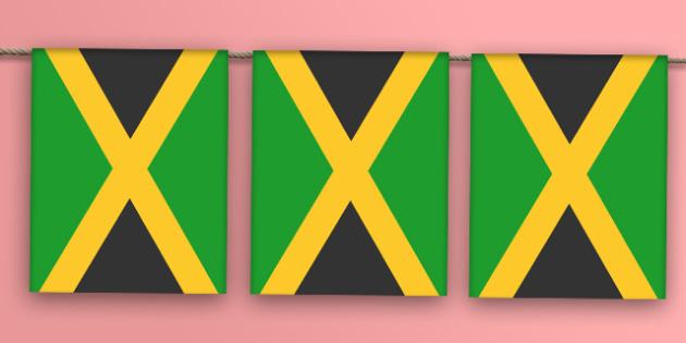 Jamaica Flag Bunting - jamaica flag, jamaica, flag, bunting, display bunting, display