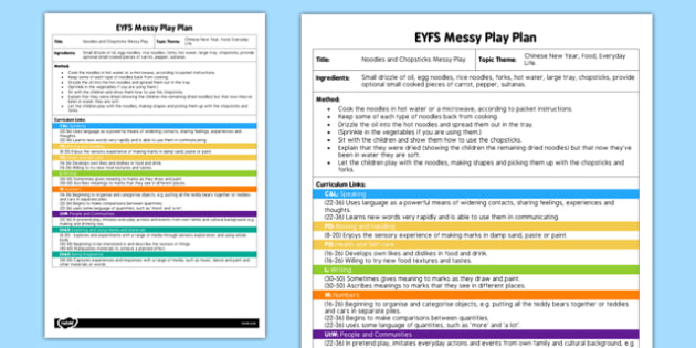 Noodles And Chopsticks EYFS Messy Play Plan - messy play