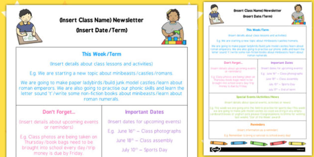 Editable Newsletter Template - eyfs, editable, newsletter