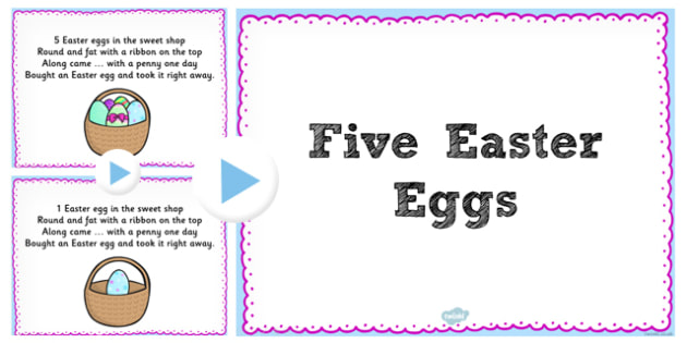 Five Easter Eggs Counting Song PowerPoint - counting, song, egg