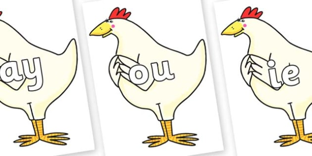 Phase 5 Phonemes on Hullabaloo Chicken to Support Teaching on Farmyard Hullabaloo - Phonemes, phoneme, Phase 5, Phase five, Foundation, Literacy, Letters and Sounds, DfES, display