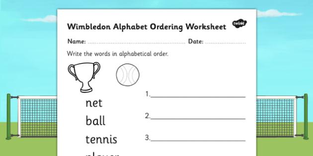 Wimbledon Alphabet Ordering Worksheet - tennis, sports, pe, order