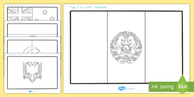 Flags of the World Colouring Sheet - Country, Geography, Flags