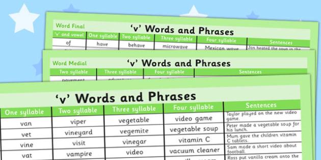 V Word List - v sound, v, sound, word list, word, list, words