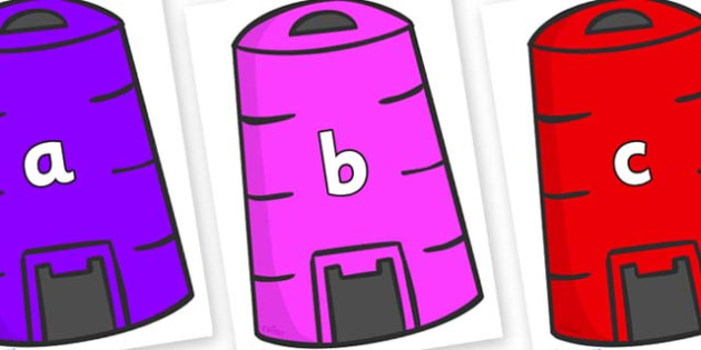Phase 2 Phonemes on Recycling Bins - Phonemes, phoneme, Phase 2, Phase two, Foundation, Literacy, Letters and Sounds, DfES, display