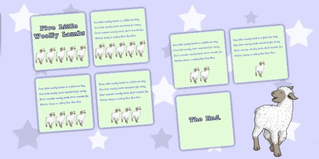 Five Little Woolly Lambs Counting Song Sequencing Cards - counting