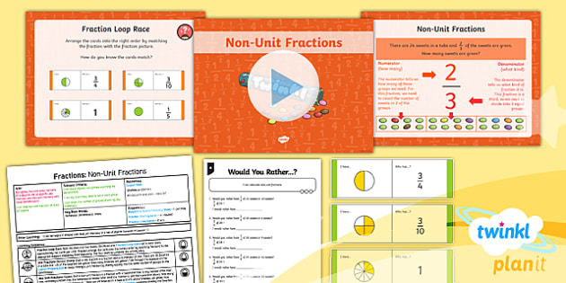 PlanIt Y3 Fractions Lesson Pack Find Fractions of a Set of Objects (2) - Fractions, fractions of groups, fraction of a group, fraction of an amount, fraction of a number, non-unit fraction, fraction of a set