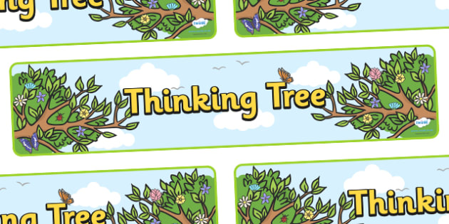 Thinking Tree Display Banner - thinking tree, thinking, tree, display, banner, sign, poster, nature, trees, good thinking, smile, polite, helpful, gentle, kind, happy