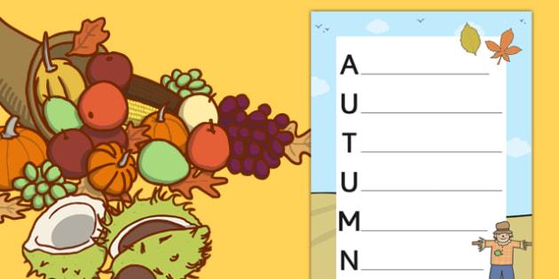 Autumn Acrostic Poem Template - autumn, autumn acrostic poem, autumn acrostic poem writing frame, weather and the seasons, seasons acrostic poem