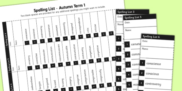 Home Educators Spelling Lists Year 5 Autumn 1 - home, educators, spelling, lists
