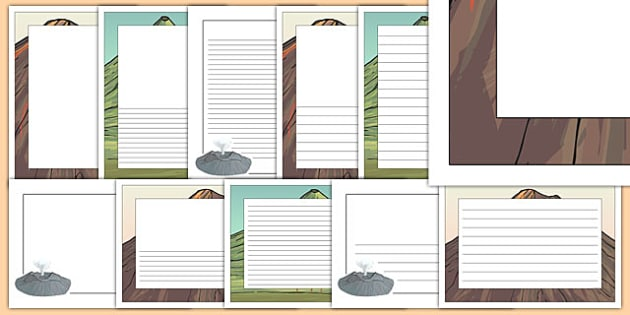 Volcano Page Borders Pack - Portrait Page Borders - Page border, border, writing template, writing aid, writing frame, a4 border, template, templates, landscape