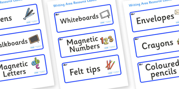 Blue Whale Themed Editable Writing Area Resource Labels - Themed writing resource labels, literacy area labels, writing area resources, Label template, Resource Label, Name Labels, Editable Labels, Drawer Labels, KS1 Labels, Foundation Labels, Founda