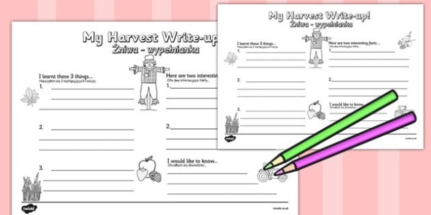 Harvest Write Up Worksheet Polish Translation - polish, harvest, write up, worksheet