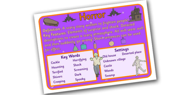 Story Genres Horror Display Poster - story genres, story genre posters, horror poster, different genres, reading corner posters, horror genre, ks2