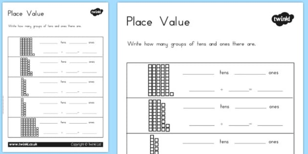 Place Value Worksheet. First Grade Math Worksheets Place Value