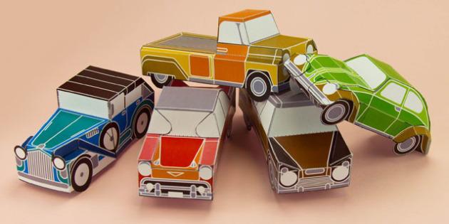 Enkl Vintage Car Paper Model Printables - Enkl, arts, crafts, activity, adult, home, decor, designer, designer, decoration, interior, project, printable, cute, simple, paper, models, 3D, shape, colour, geek, clean,cars,vintage,old,style,farther,dad