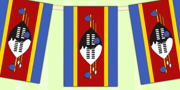 Swaziland Flag Display Bunting - country, geography, commonwealth